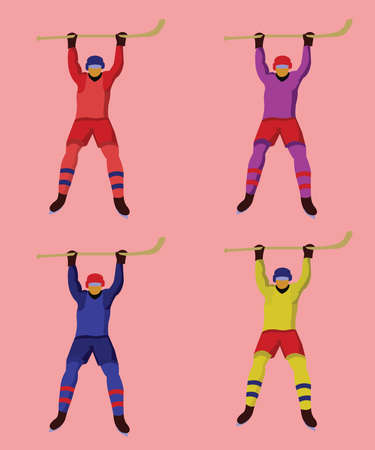 hockey players: Hockey Players in Colorful Uniforms with hockey sticks and skates. Colorful winter sports mascot or emblem of a hockey men players. Digital vector illustration. Illustration