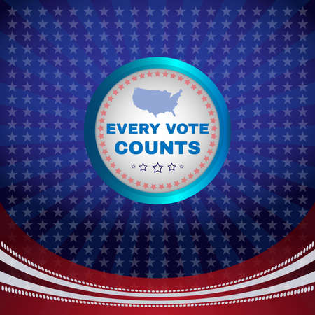 counts: Every Vote Counts Election Day Campaign Ad Flyer. Every Vote Counts Social Promotion Banner. American Flags Symbolic Elements. Digital vector illustration. Illustration