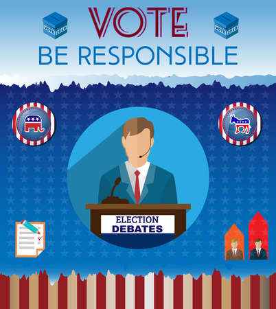 responsible: Election Day 2016 Campaign Ad Flyer. Be Responsible Social Promotion Banner. Elephant versus Donkey. American Flags Symbolic Elements - Red Stripes and White Stars. Digital vector illustration.