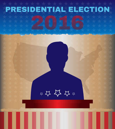 president of the usa: Usa Presidential Election Debates Campaign Ad Flyer. Who is Next President - Social Promotion Banner. American Flags Symbolic Elements - Red Stripes and Blue Stars. Digital vector illustration