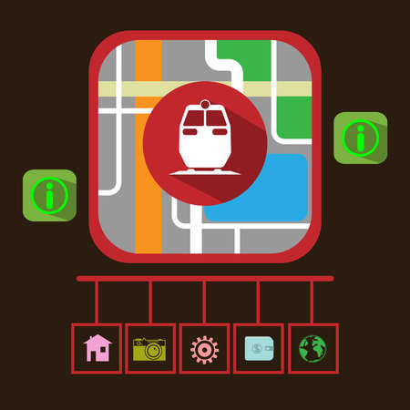 electric train: GPS Navigation Map. Electric Train, Map Pointer, Transportation Navigation Signal, Streets, Lake, Parks. Digital background vector illustration.