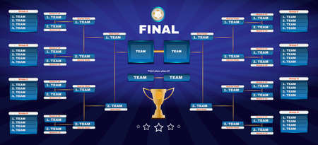 Soccer Champions Final Scoreboard Template on Dark Backdrop. Sports Tournament Chart for Groups and Teams. Soccer Playfield Digital Vector Illustration.