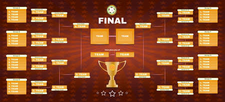 playfield: Soccer Champions Final Scoreboard Template on Dark Backdrop. Sports Tournament Chart for Groups and Teams. Soccer Playfield Digital Vector Illustration.