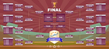 tournament chart: Soccer Champions Final Scoreboard Template on Dark Backdrop. Sports Tournament Chart for Groups and Teams. Soccer Playfield Digital Vector Illustration.