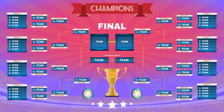 playoff: Soccer Champions Final Scoreboard Template on Dark Backdrop. Sports Tournament Chart for Groups and Teams. Soccer Playfield Digital Vector Illustration.