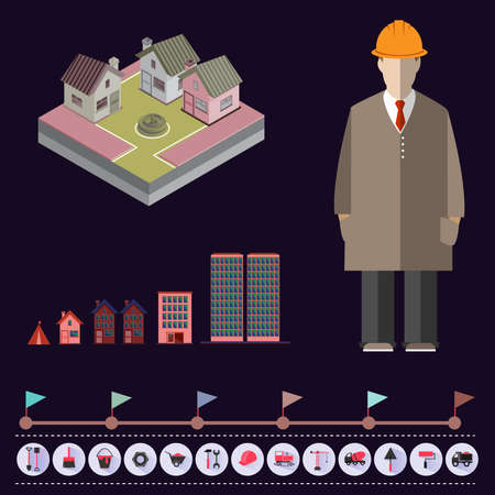 trustworthy: Buildings construction infographic vector illustration. Trustworthy real estate company presentation template. Illustration