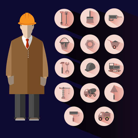 tip style design: Construction Icons Set. Flat style round vector building illustrations.