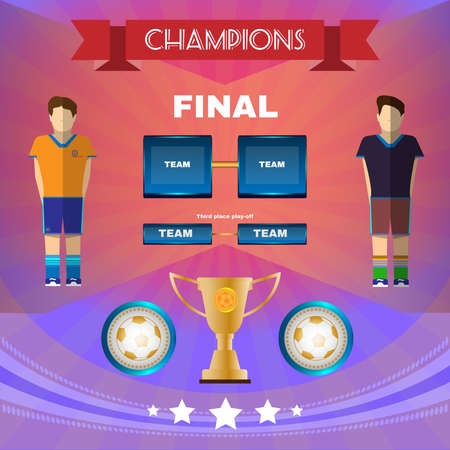 playoff: Football Soccer Game Champions Final Banner or Flyer. Soccer Match Infographic. Championship Golden Cup. Digital background vector illustration.