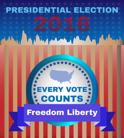 every: Presidential Election Campaign Ad Flyer. Freedom Liberty Social Promotion Banner. Every Vote Counts. American Flags Symbolic Elements - Stripes and Stars. Digital vector illustration.
