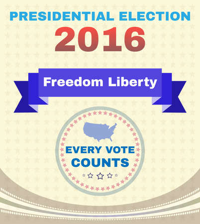 presidential: Presidential Election Campaign Ad Flyer. Freedom Liberty Social Promotion Banner. Every Vote Counts. American Flags Stars with Map. Digital vector illustration.