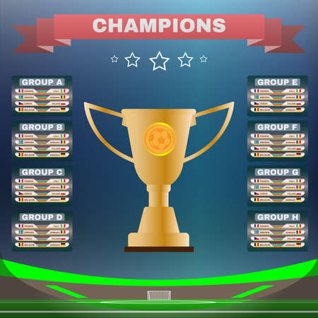 Soccer Champions Scoreboard Template on Dark Backdrop. Sports Tournament Chart for Groups and Teams. Soccer Playfield Digital Vector Illustration.