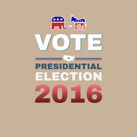burro: Elecciones presidenciales de EE.UU. campa�a publicitaria Flyer. Banner Promoci�n Social. Elefante contra burro. Elementos simb�licos de la bandera americana - rayas y estrellas. Ilustraci�n vectorial Digital.