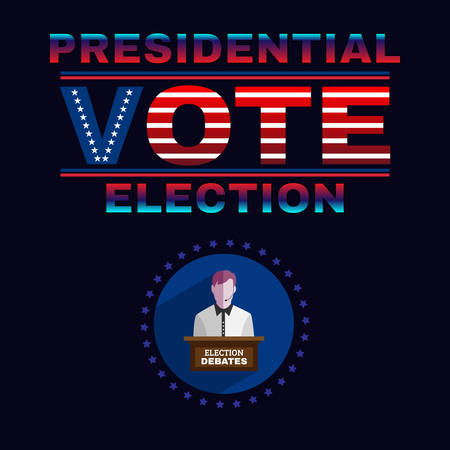 presidential: Usa Presidential Election Debates Campaign Ad Flyer. Social Promotion Banner. American Flags Symbolic Elements - Stripes and Stars. Digital vector illustration.