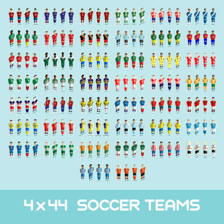 Football club Soccer Players silhouettes. Computer game Soccer team players big set. Sports infographic. Forty-four Football Teams in Perspective. Digital background vector illustration.
