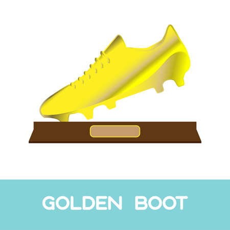 botas: Oro Premio Bota de Deportes. S�mbolo Campeonato de F�tbol. Dise�o plano Bota de Oro. Ilustraci�n vectorial Digital.