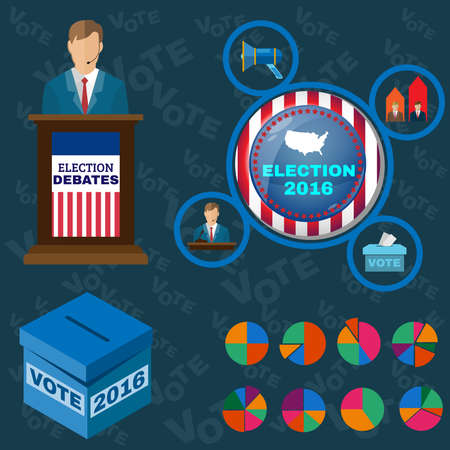 responsible: Vote - Be Responsible Presentation. Presidential Debates Icons suited for Elections Infographics, Banner or Flyer. Digital Vector Illustrations in Flat Style. Infographics Colorful Elements.