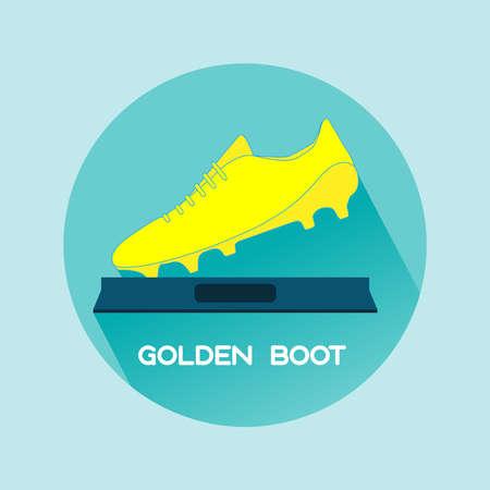 soccer shoe: Golden Boot Sports Prize. Soccer Championship Symbol. Flat Design Golden Shoe. Digital vector illustration. Illustration