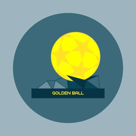 golden ball: Golden Ball Sports Prize. Soccer or Football Championship Symbol. Flat Design Golden Ball. Digital vector illustration. Illustration