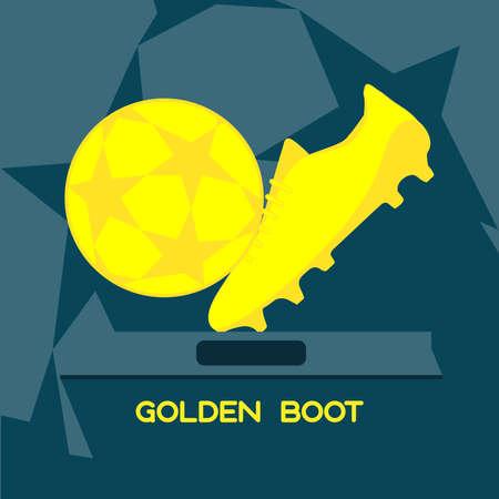 golden ball: Golden Boot Sports Prize. Soccer Championship Symbols. Flat Design Golden Ball. Digital vector illustration.