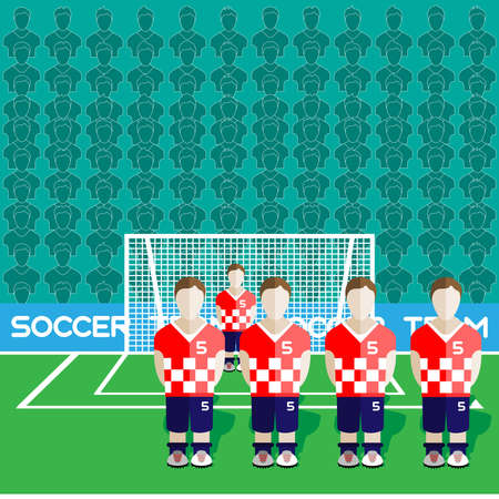crossbar: Croatia Football Club Soccer Players Silhouettes. Computer game Soccer team players big set. Sports infographic. Football Teams in Flat Style. Goalkeeper Standing in a Goal. Vector illustration. Illustration