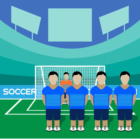 computer club: Football Club Soccer Players Silhouettes. Computer game Soccer team players big set. Sports infographic. Football Teams in Flat Style. Goalkeeper Standing in a Goal. Vector illustration.