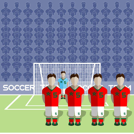 crossbar: Morocco Football Club Soccer Players Silhouettes. Computer game Soccer team players big set. Sports infographic. Football Teams in Flat Style. Goalkeeper Standing in a Goal. Vector illustration. Illustration