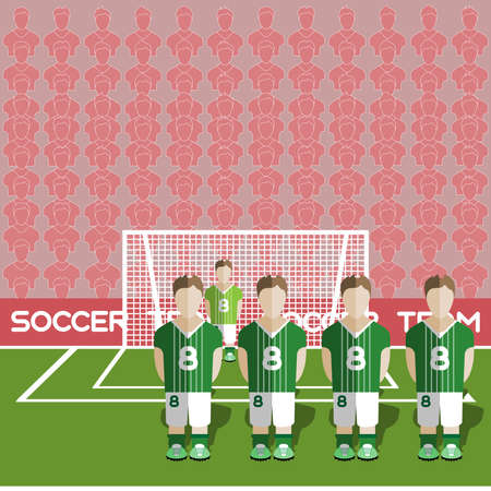 crossbar: Northern Ireland Football Club Soccer Players Silhouettes. Computer game Soccer team players big set. Sports infographic. Football Teams in Flat Style. Goalkeeper Standing in a Goal.