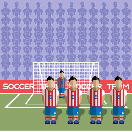 net bar: Paraguay Football Club Soccer Players Silhouettes. Computer game Soccer team players big set. Sports infographic. Football Teams in Flat Style. Goalkeeper Standing in a Goal. Vector illustration.