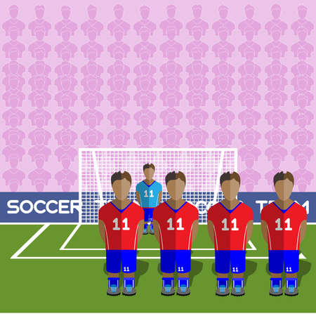 crossbar: Chile Football Club Soccer Players Silhouettes. Computer game Soccer team players big set. Sports infographic. Football Teams in Flat Style. Goalkeeper Standing in a Goal. Vector illustration.