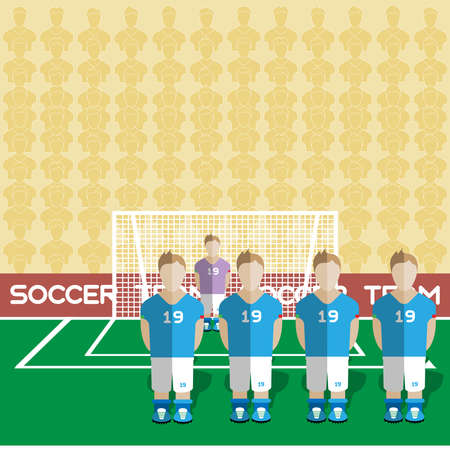 crossbar: Italy Football Club Soccer Players Silhouettes. Computer game Soccer team players big set. Sports infographic. Football Teams in Flat Style. Goalkeeper Standing in a Goal. Vector illustration.