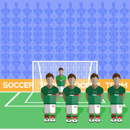 crossbar: Mexico Football Club Soccer Players Silhouettes. Computer game Soccer team players big set. Sports infographic. Football Teams in Flat Style. Goalkeeper Standing in a Goal. Vector illustration.