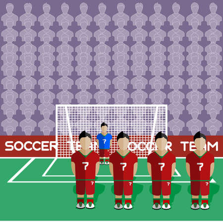 crossbar: Portugal Football Club Soccer Players Silhouettes. Computer game Soccer team players big set. Sports infographic. Football Teams in Flat Style. Goalkeeper Standing in a Goal. Vector illustration.