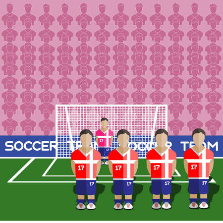 crossbar: Serbia Football Club Soccer Players Silhouettes. Computer game Soccer team players big set. Sports infographic. Football Teams in Flat Style. Goalkeeper Standing in a Goal. Vector illustration. Illustration