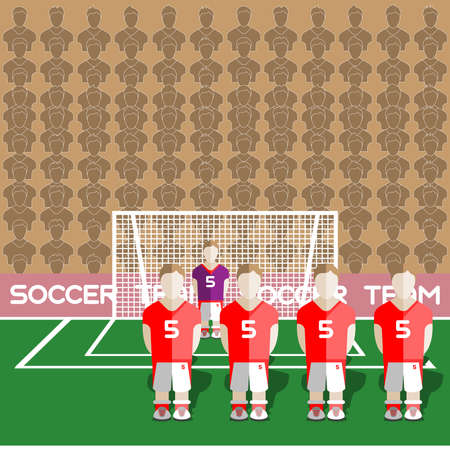 soccer team: Austria Football Club Soccer Players Silhouettes. Computer game Soccer team players big set. Sports infographic. Football Teams in Flat Style. Goalkeeper Standing in a Goal. Vector illustration. Illustration