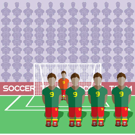 crossbar: Ghana Football Club Soccer Players Silhouettes. Computer game Soccer team players big set. Sports infographic. Football Teams in Flat Style. Goalkeeper Standing in a Goal. Vector illustration.