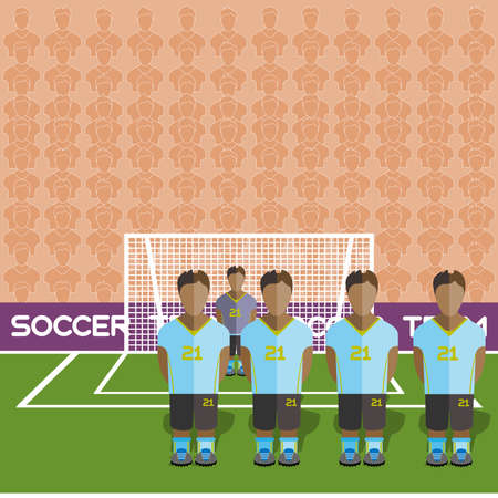 crossbar: Uruguay Football Club Soccer Players Silhouettes. Computer game Soccer team players big set. Sports infographic. Football Teams in Flat Style. Goalkeeper Standing in a Goal. Vector illustration.