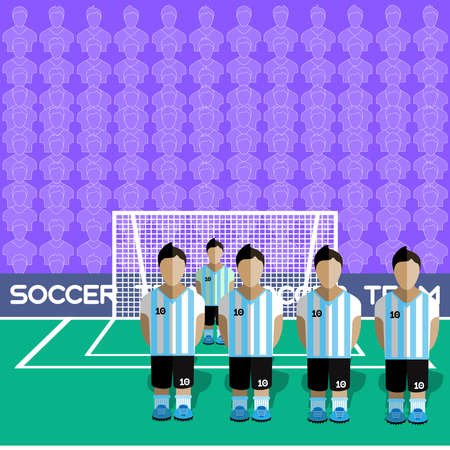 football team: Argentina Football Club Soccer Players Silhouettes. Computer game Soccer team players big set. Sports infographic. Football Teams in Flat Style. Goalkeeper Standing in a Goal. Vector illustration.