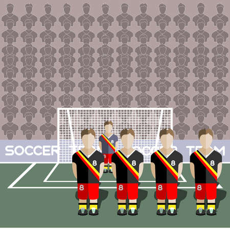 crossbar: Belgium Football Club Soccer Players Silhouettes. Computer game Soccer team players big set. Sports infographic. Football Teams in Flat Style. Goalkeeper Standing in a Goal. Vector illustration. Illustration