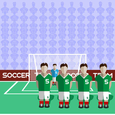 crossbar: Iran Football Club Soccer Players Silhouettes. Computer game Soccer team players big set. Sports infographic. Football Teams in Flat Style. Goalkeeper Standing in a Goal. Vector illustration.