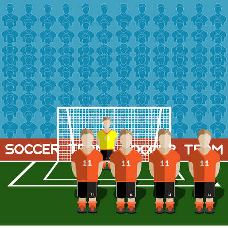 crossbar: Netherlands Football Club Soccer Players Silhouettes. Computer game Soccer team players big set. Sports infographic. Football Teams in Flat Style. Goalkeeper Standing in a Goal. Vector illustration.