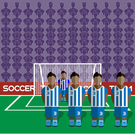 computer club: Honduras Football Club Soccer Players Silhouettes. Computer game Soccer team players big set. Sports infographic. Football Teams in Flat Style. Goalkeeper Standing in a Goal. Vector illustration.