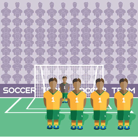 crossbar: Australia Football Club Soccer Players Silhouettes. Computer game Soccer team players big set. Sports infographic. Football Teams in Flat Style. Goalkeeper Standing in a Goal. Vector illustration.