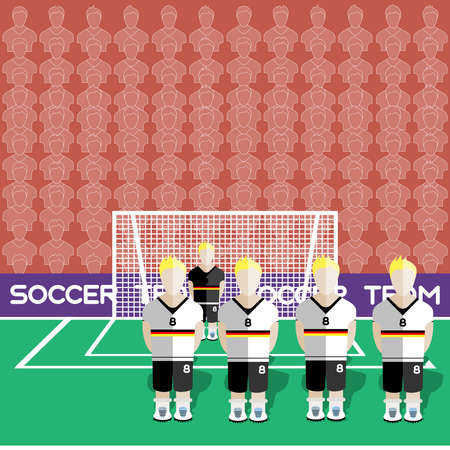 crossbar: Germany Football Club Soccer Players Silhouettes. Computer game Soccer team players big set. Sports infographic. Football Teams in Flat Style. Goalkeeper Standing in a Goal. Vector illustration. Illustration