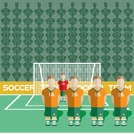 crossbar: Ivory Coast Football Club Soccer Players Silhouettes. Computer game Soccer team players big set. Sports infographic. Football Teams in Flat Style. Goalkeeper Standing in a Goal. Vector illustration.