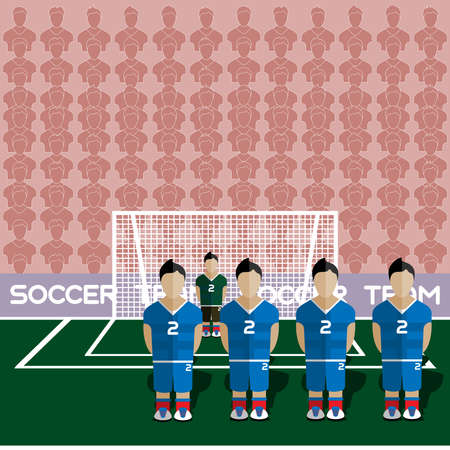 crossbar: Slovakia Football Club Soccer Players Silhouettes. Computer game Soccer team players big set. Sports infographic. Football Teams in Flat Style. Goalkeeper Standing in a Goal. Vector illustration.