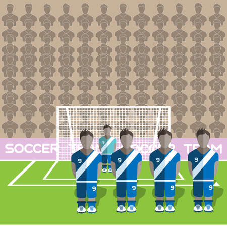 crossbar: Guatemala Football Club Soccer Players Silhouettes. Computer game Soccer team players big set. Sports infographic. Football Teams in Flat Style. Goalkeeper Standing in a Goal. Vector illustration.
