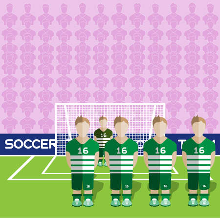 crossbar: Scotland Football Club Soccer Players Silhouettes. Computer game Soccer team players big set. Sports infographic. Football Teams in Flat Style. Goalkeeper Standing in a Goal. Vector illustration.