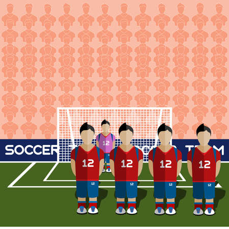 crossbar: South Korea Football Club Soccer Players Silhouettes. Computer game Soccer team players big set. Sports infographic. Football Teams in Flat Style. Goalkeeper Standing in a Goal. Vector illustration. Illustration