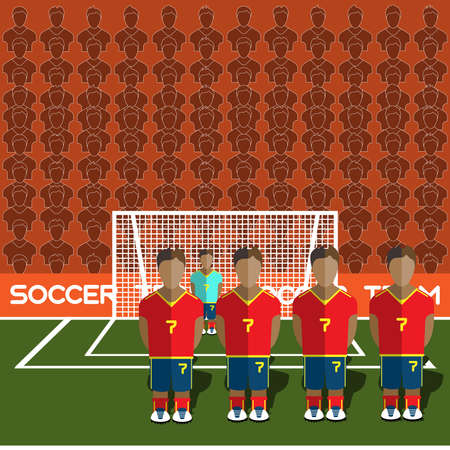 crossbar: Spain Football Club Soccer Players Silhouettes. Computer game Soccer team players big set. Sports infographic. Football Teams in Flat Style. Goalkeeper Standing in a Goal. Vector illustration.
