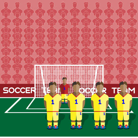 crossbar: Romania Football Club Soccer Players Silhouettes. Computer game Soccer team players big set. Sports infographic. Football Teams in Flat Style. Goalkeeper Standing in a Goal. Vector illustration.